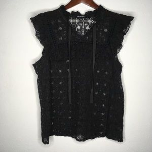 Who What Wear Black Lace Ruffle Top Size Large